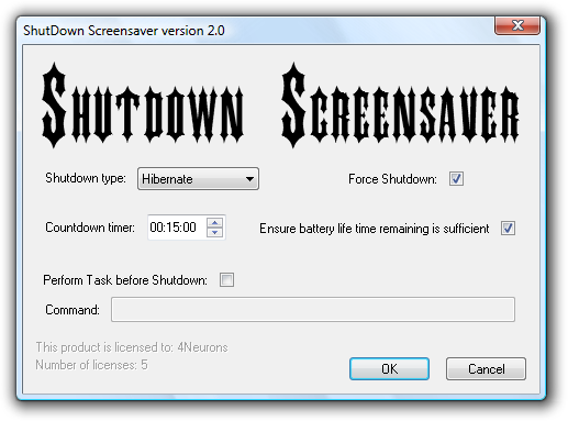Shutdown Screensaver Configuration